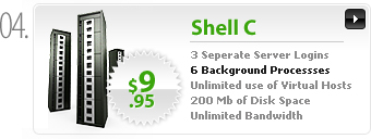 $9.95 - Shell C - 3 separate server logins - 6 background processes - 200MB space