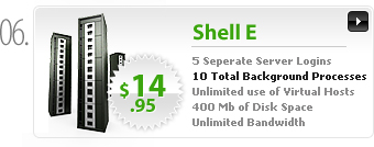 $14.95 - Shell E - 5 separate server logins - 10 background processes - 400MB space