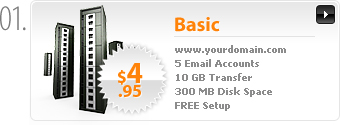 $4.95 - Basic Webhosting - www.yourdomain.com - Cpanel - 5 Email Accounts - 5 MySQL Databases - 10GB transfer - 300MB Disk Space