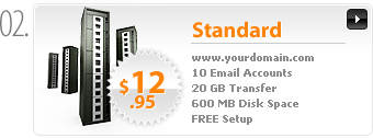 $12.95 - Standard Webhosting - www.yourdomain.com - Cpanel - 10 Email Accounts - 10 MySQL Databases - 20GB transfer - 600MB Disk Space - FREE Domain Registration